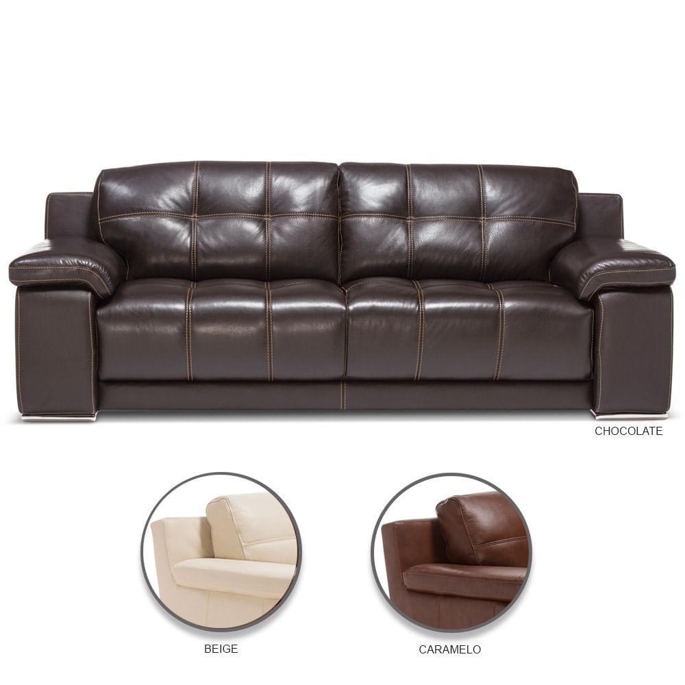 Sofa De Cuero 3 Cuerpos Rosen Baci Living Room
